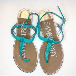 Sam & Libby T-Strap Silver And Teal Sandals